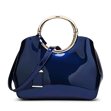 DEERWORD Para mujer Carteras de mano Bolsos bandolera Bolsos bolera Bolsos maletín Cuero Azul: Amazon.es: Equipaje