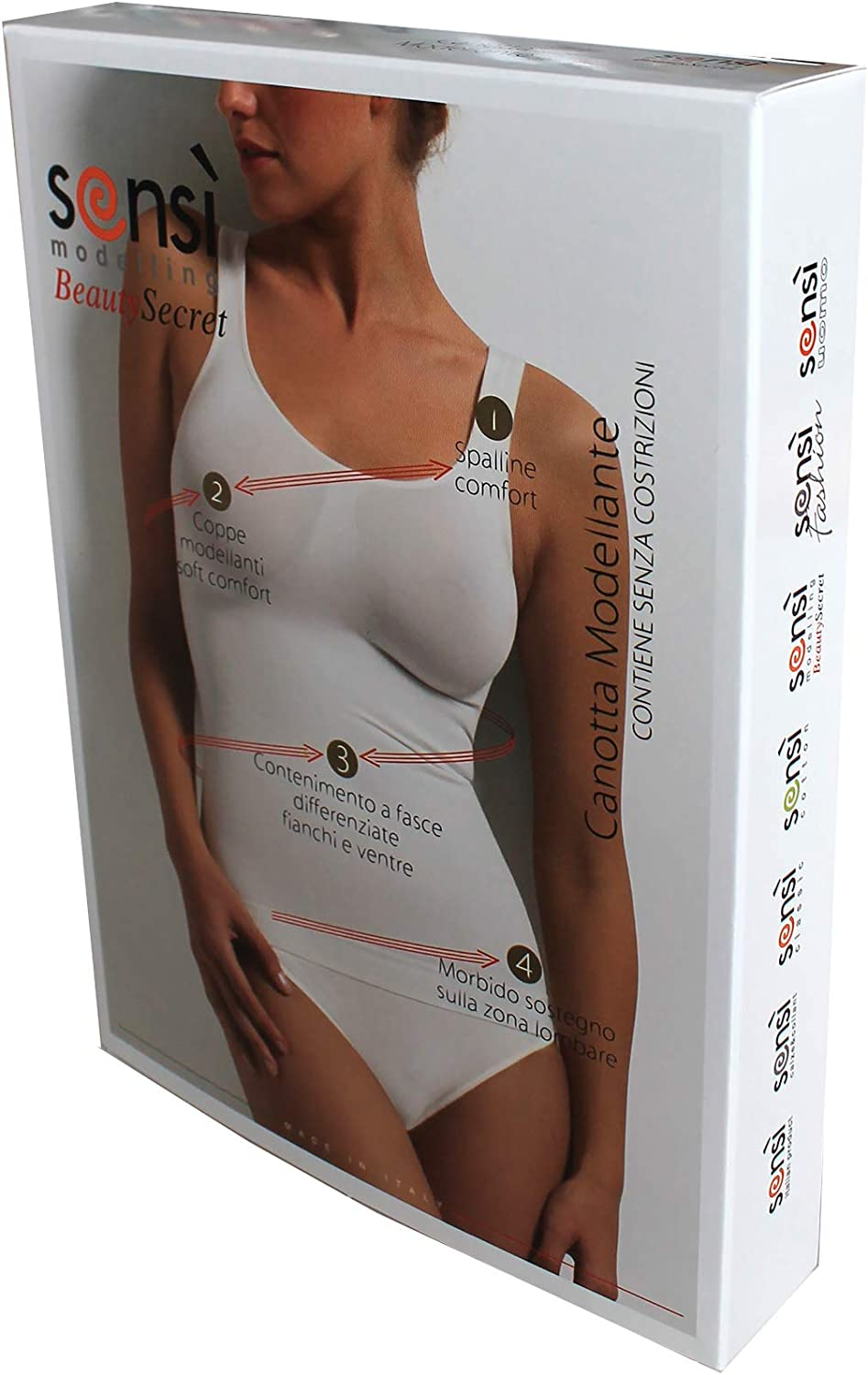 SENSI Top Sculptant Femme sans Couture Larges Brettelles Seamless Made in Italy