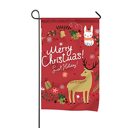 Merry Christmas Animals.Amazon Com Lucy Curme Welcome Merry Christmas Animals Garden Flag