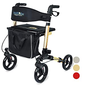 Health Line Compact Rollator for Seniors, Aluminum Side-Fold Rolling Walker with Paded Seat, Bright Champagne