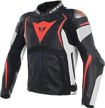 Dainese Mugello Negro Blanco Fluo Rojo Perforado Piel Chaqueta de moto: Amazon.es: Coche y moto