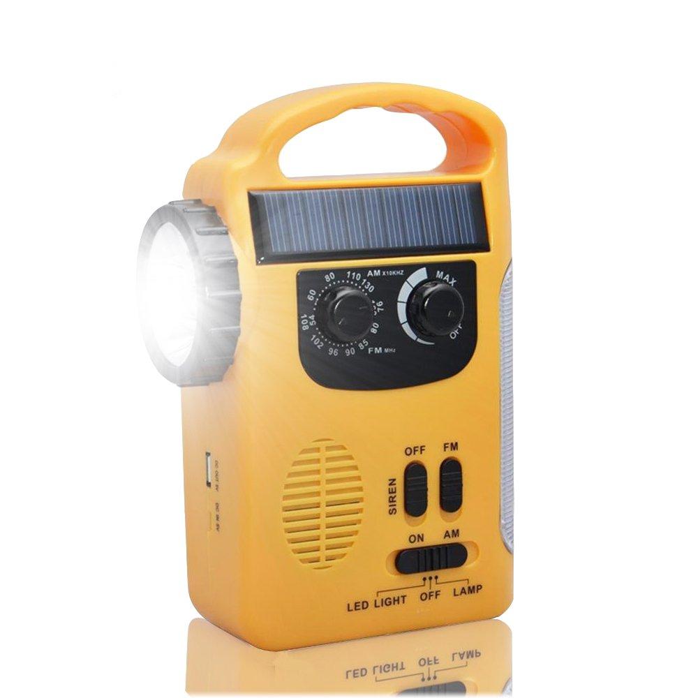 Tiemahun Emergency Solar Dynamo Powered Hand Crank AM/FM Radio LED Flashlight Lantern 500mAh Power Bank 339FS