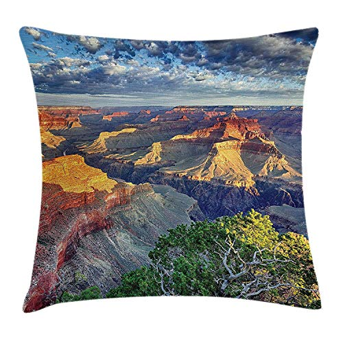 WCMBY House Decor Throw Pillow Cushion Cover by, Panoramic View at Grand Canyon with Morning and Fluffy Clouds in Air Sight Theme, Decorative Square Accent Pillow Case, 18 X 18 Inches, Grey Blue