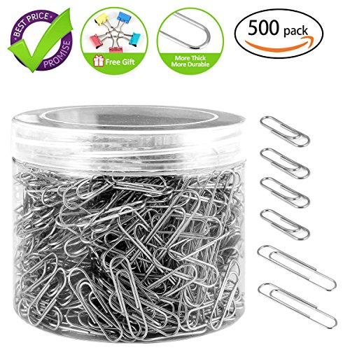 Jumbo Paper Clips (Paper Clips, 500 Pieces Sliver Thick Durable Paperclips, Free Gift for 5 Park Paper Clmps, 400 Pieces Medium Paper Clips and 100 Pieces Jumbo Paper Clips, Easy to Attach and Remove Nonskid Paperclips)