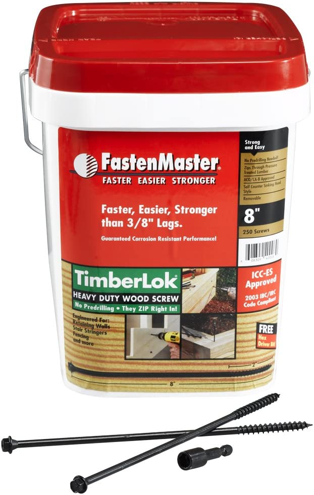 8 Inches FastenMaster FMTLOK08-12 TimberLOK Heavy-Duty Wood Screw 12-Count