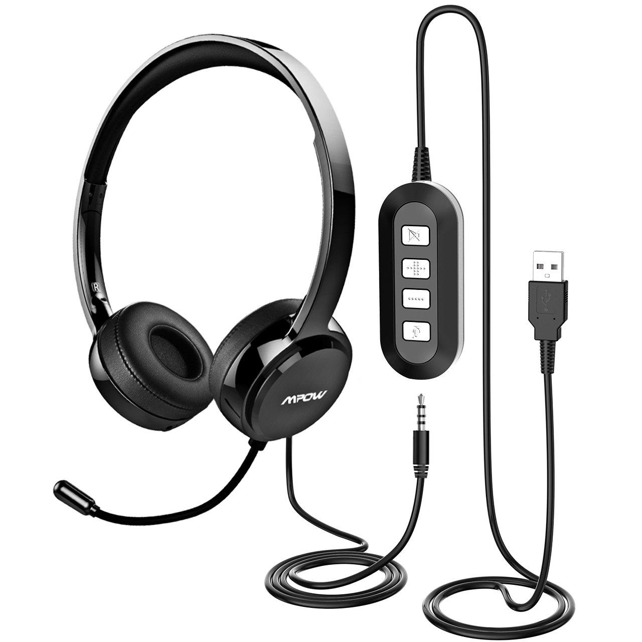 Mpow - Auriculares de Teléfono Cerrados con Micrófono - 2,4 Metros, 2 Enchufes