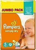 Pampers Simply Dry Pannolini Junior, Taglia 5 (11-25 Kg), 2 Confezioni da 66, 132 Pezzi