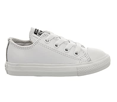 a15421fb8661ba Converse Chuck Taylor All Star Infant White Leather 25 EU  Amazon.fr ...