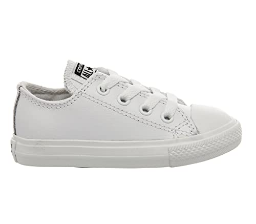 Converse All Star Ox Leather Kids White Mono  1 youth UK