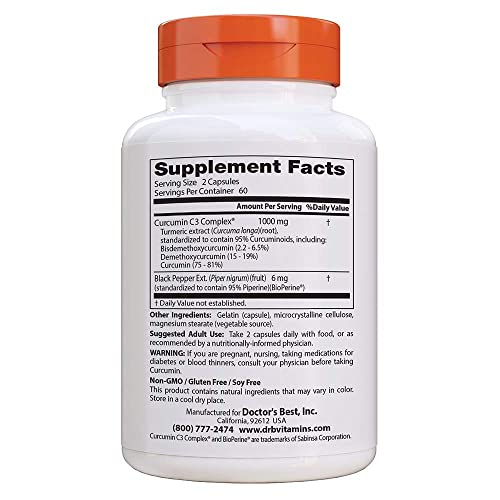 Doctor s Best Curcumin from Turmeric Root, Non-GMO, Gluten Free, Soy Free, Joint Support, 500mg Caps with C3 Complex BioPerine, 120 Capsules