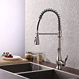 KES Brass Singel Lever High Arc Pull Down Kitchen Faucet with Retractable Pull Out Wand, Swivel Spout, L6915BLF-BN