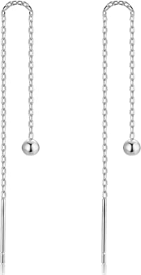 SQUARE pendant Ear threads with 925 Sterling silver chain Long dangle geometric minimalist earrings