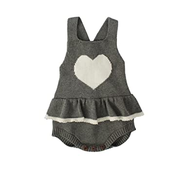 8ffef44365db3 ZooArts ベビー服 ロンパース ニット セーター かわいい 愛の心 新生児サイズ 男の子 女の子 カバーオール ワンピース 赤ちゃん