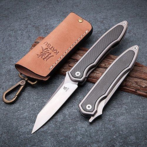 KATSU Camping Pocket Folding Japanese Knife, Titanium & Carbon Fiber Handle, Frame Lock, Stonewashed Blade and Titanium Clip, Leather Sheath by KATSU (Image #3)