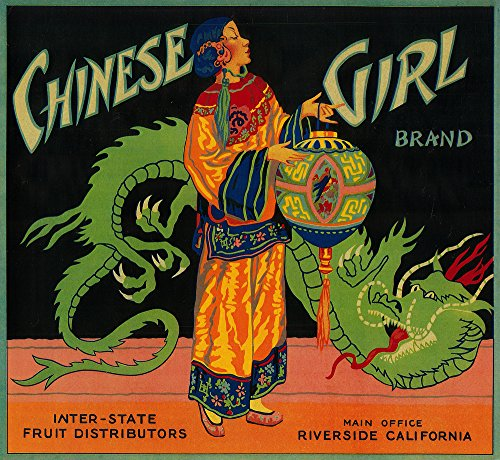 Chinese Girl Orange - Vintage Crate Label (12x18 Art Print, Wall Decor Travel Poster)