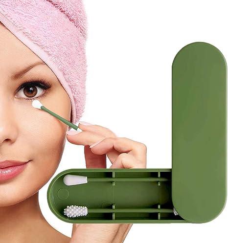 Imagen deBastoncillo de algodón reutilizable, Bastoncillos de algodón ecológicos de doble cara Escobillas de limpieza de orejas Palillo cosmético con estuche de almacenamiento (Ejercito verde)