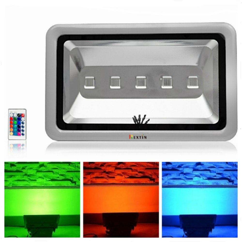 Rextin Brightest 5 LED Flood Light 250W RGB Color changing High Power Waterproof Energy Saving Security Energy Spot Light Indoor Outdoor For Court Yard Parking Place