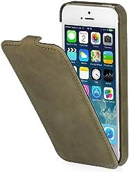 StilGut UltraSlim, esclusiva custodia in pelle per Apple iPhone 5, iPhone 5s & iPhone SE, verde old style