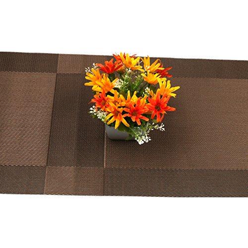 Compatible Placemats table runner,U'artlines 1 piece Crossweave Woven Vinyl Table Runner Washable 30x180cm (Brown, Table runner) by U'Artlines (Image #6)