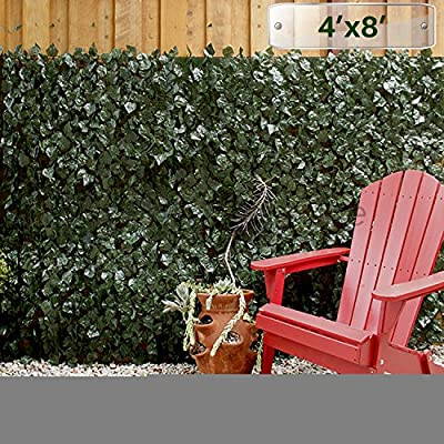 Patio Paradise 4' x 8' Faux Ivy Privacy Fence Screen with Mesh Back-Artificial Leaf Vine Hedge Outdoor Decor-Garden Backyard Decoration Panels Fence Cover