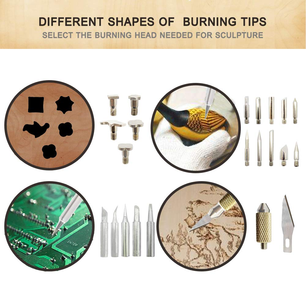 82 PCS Wood Burning Kit, Creative Wood Burner Tool with Adjustable On-Off Switch Control Temperature 200~450 ℃ Professional Wood Burning Pen and Various Wooden Carving/Embossing/Soldering Tips by PETUOL (Image #5)