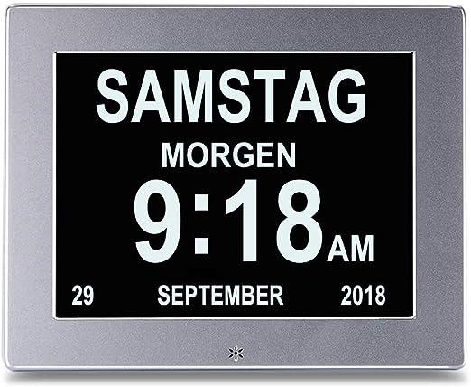 LIMIAND Reloj Digital Calendario,Reloj Pared Grande con 8 alarmas,para Personas Mayores y de visión,Plata [Clase de eficiencia energética A]: Amazon.es: Hogar