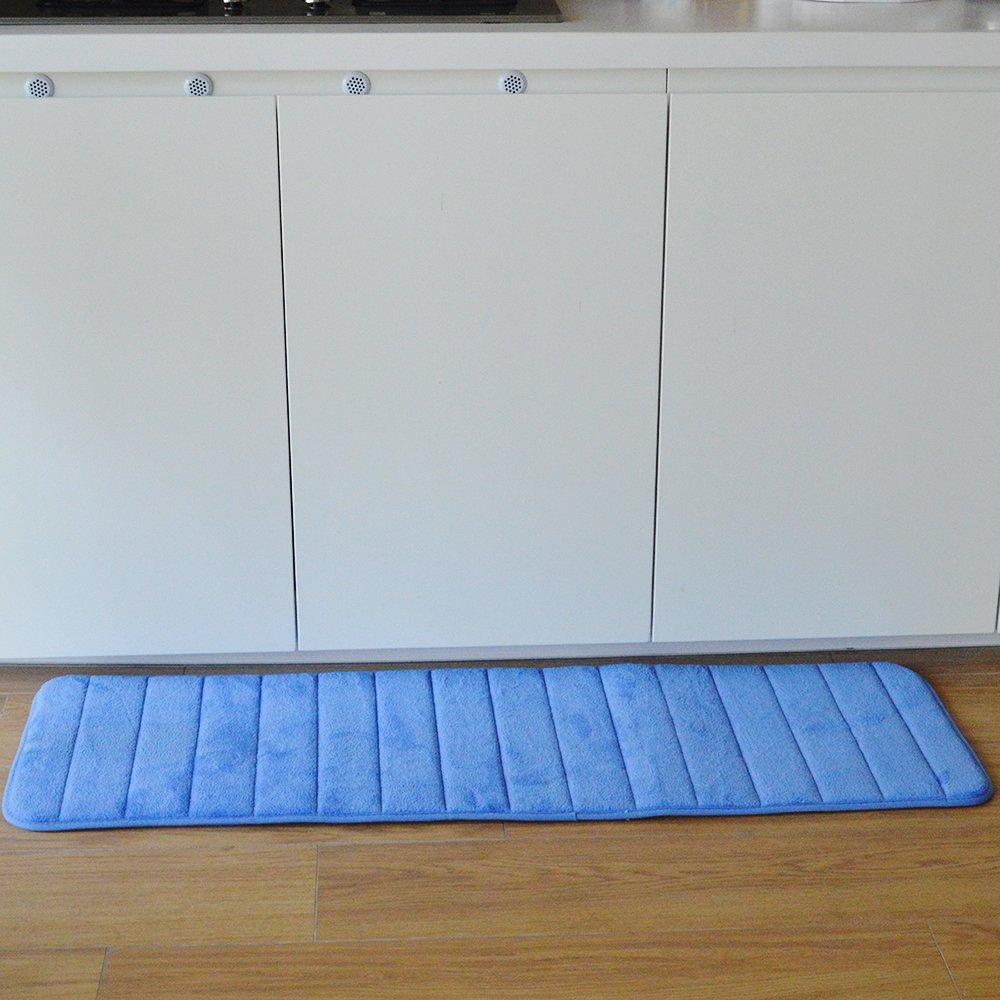 Yaheeda Anti-Fatigue Memory Foam Runner 47'' x 19'' Extra Long Ultra Soft HD Bathroom Rubber Back Anti-slip Water Resistant Rug Mat for Kitchen and Bathroom