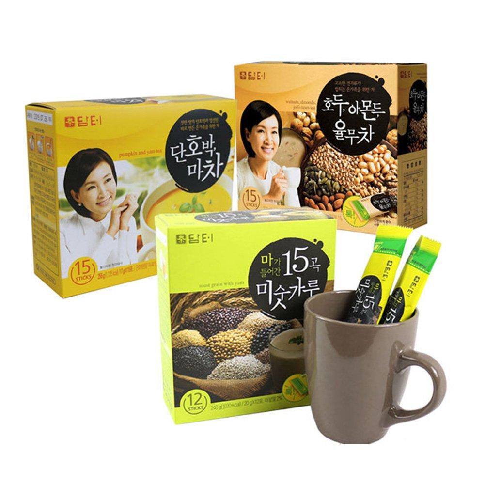 DAMTUH Breakfast Meal Replacement Energy Drink Set, Walnut Almond Adlay Tea + Roast Grain with Yam Tea + Sweet Pumpkin with Yam Tea by DAMTUH