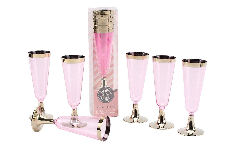 Set of 6 Pink Plastic Party Flutes Prosecco Glasses H16cm Disposable