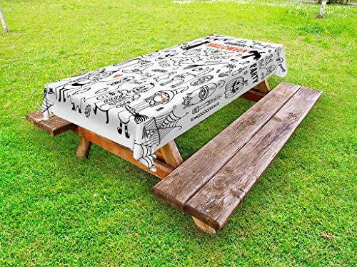 Lunarable Halloween Outdoor Tablecloth, Lets Celebrate Halloween Quoted Skeleton Cat Owl Night Drawings Bat, Decorative Washable Picnic Table Cloth, 58 X 84 Inches, Black White Burnt Orange