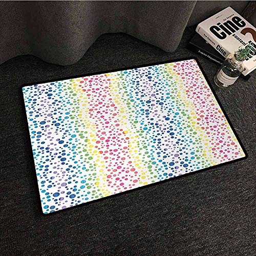 DuckBaby Printed Door mat Modern Rainbow Colored Ombre Bubbles and Rounds Circles in Wavy Shape Line Art Print Image Country Home Decor W20 xL31