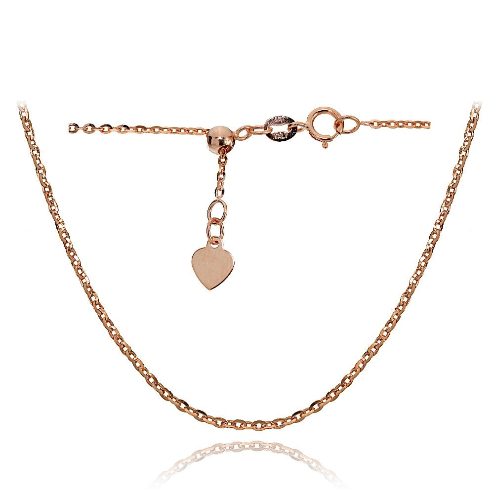 Bria Lou 14k Rose Gold 1.4mm Italian Diamond-Cut Cable Adjustable Chain Anklet, 9-11 Inches