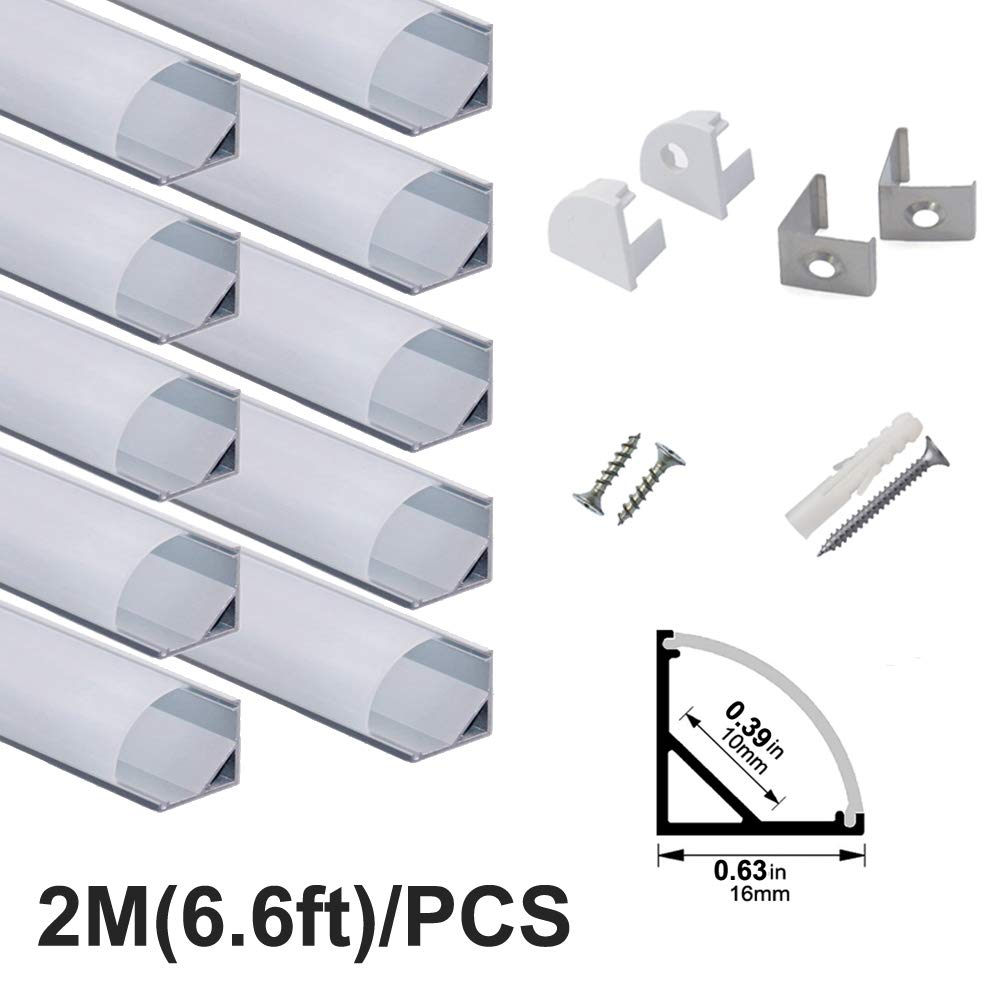hunhun 10-Pack 6.6ft/ 2Meter V Shape LED Aluminum Channel System With milky Cover, End Caps and Mounting Clips, Aluminum Profile for LED Strip Light Installations, Very Easy Installation by hunhun