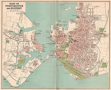 Map Of Uk Hampshire.Portsmouth And Gosport Antique Town City Map Plan Hampshire 1893