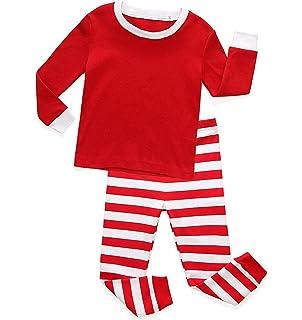 LIttle Girls Boys Pajamas Unisex Kids 100% Cotton T-Shirt Striped Pnat Sleepwear  Christmas df2253fd0