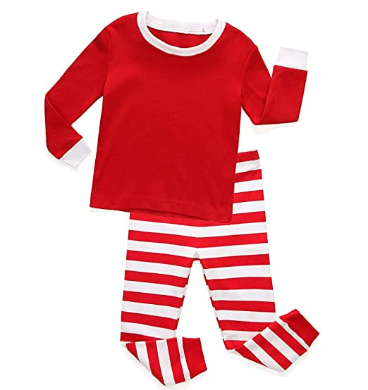 Girls Boys Christmas Pajamas Kids Red and White Striped Sleepwear Christmas  Nightgown 9400e8a3b