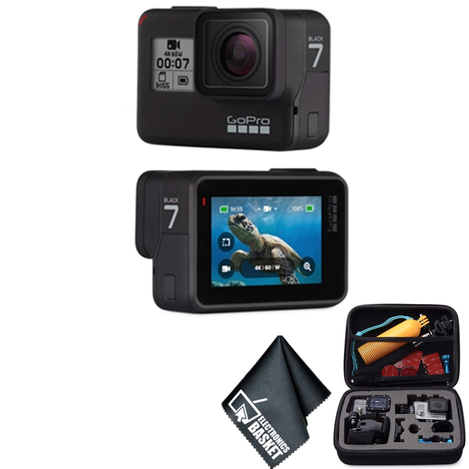 GoPro Hero 7 (Black) Waterproof Digital Action Camera 4K HD Video 12MP Photos Live Streaming Stabilization - Bundle Kit