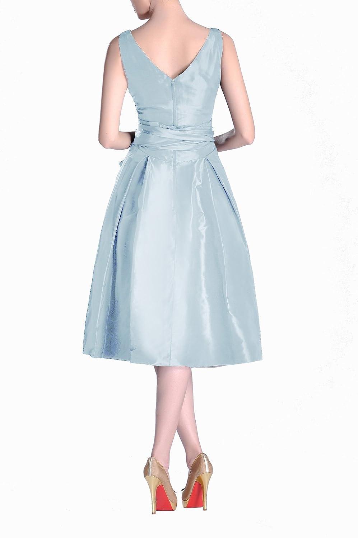 Formal Modest bridesmaids A-line V-neck Pleated Taffeta Tea Length ...