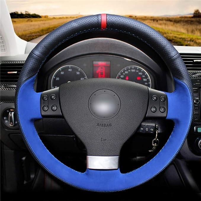 Hcdswsn Schwarzes Echtes Leder Wildleder Auto Lenkrad Abdeckung Für Volkswagen Golf 5 Mk5 Vw Passat B6 Jetta 5 Mk5 Tiguan 2007 2011 Sport Freizeit