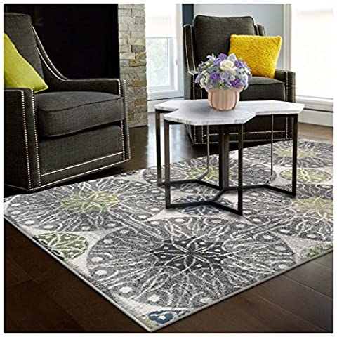 Superior Rosette Collection Area Rug, 6mm Pile Height with Jute Backing, Affordable Contemporary Rugs, Modern Geometric Medallion Rosettes - 5' x 8' Rug, Black, Grey, Blue, and (Blue And Green Bedroom Rugs)