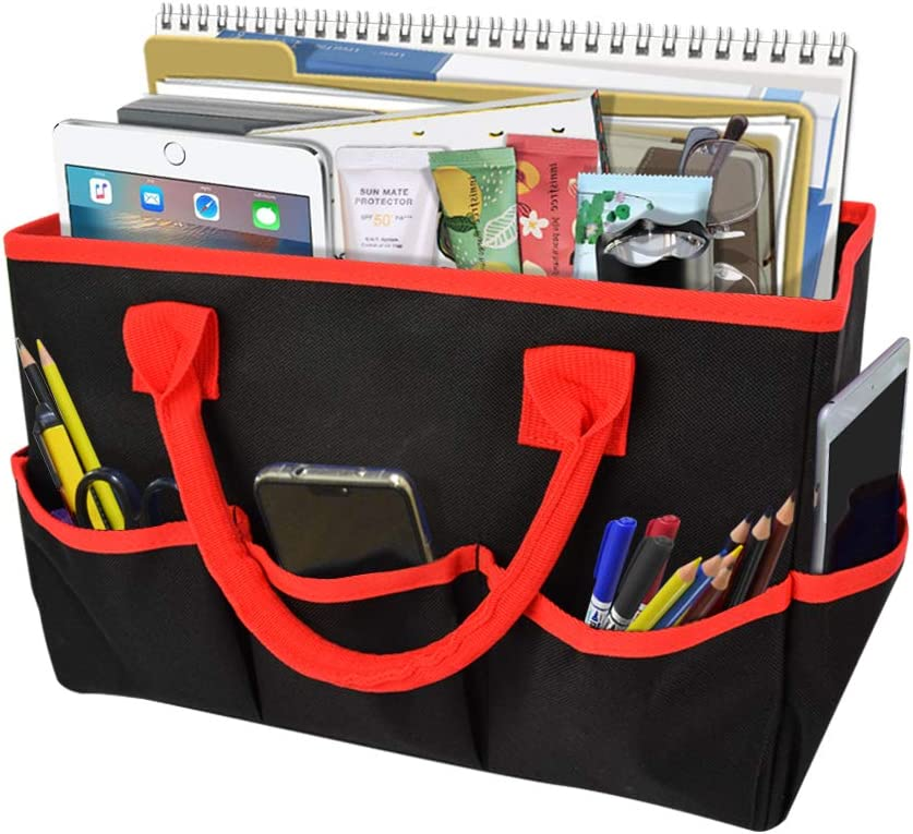 Godery Desktop File Folder Tote and Stock Organize, Fundamentals Art Organizer Storage Craft Tote Bag for Office Desk Organize, Make-up Storage Tote with Handles for Travel or Daily Use, Black