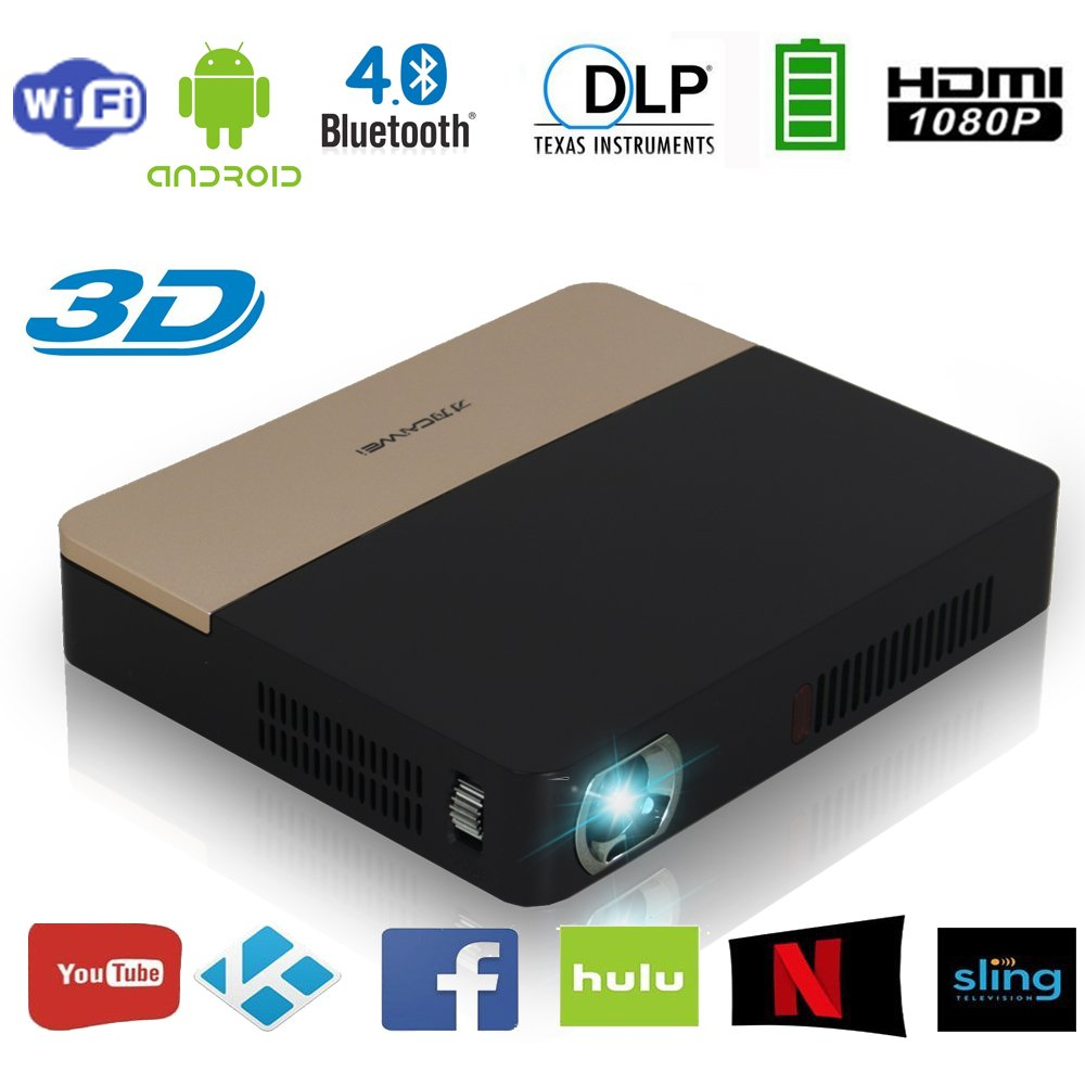 Pico DLP Projector Android Bluetooth, Full HD 1080P Support 3D Wireless Projector Mini, with Speakers, Built in Battery, Auto Keystone HDMI USB TF for PPT Video Games Outdoor