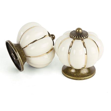 8x Ceramic Vintage Pumpkin Cabinet Drawer Knob Door Handle Pull ...