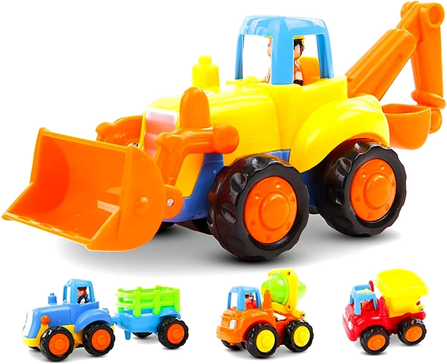 Children welltop Pull Back and Go Toy Cars 3 Pack Construction Vehicles Mini Construction Friction Powered Car Creativity for Kids Toddler Interesting Toys
