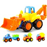 GoStock Friction Powered Cars Push and Go Toys for 1 2 3 Year Old Boys and Girls, 4 Sets Construction Vehicles of Tractor, Bu