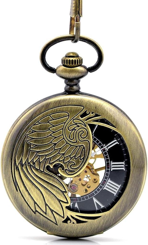 Stayoung Steampunk Antiguo Bronce Números Romanos Cuerda Manual Reloj de Bolsillo Mecánico Colgante Cadena Phoenix Pájaro de Fuego Alta Calidad