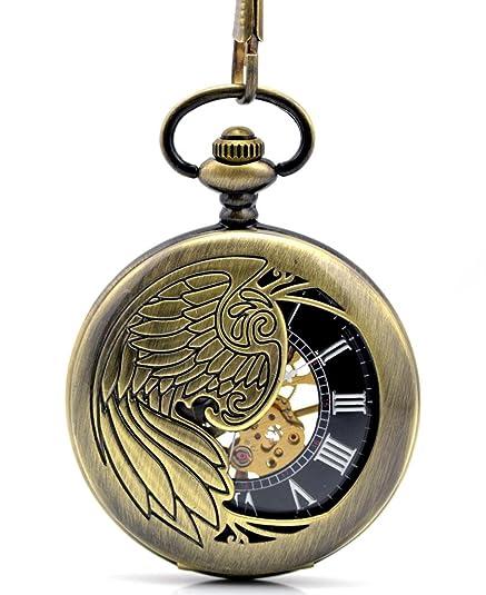 Stayoung Steampunk Antiguo Bronce Números Romanos Cuerda Manual Reloj de Bolsillo Mecánico Colgante Cadena Phoenix Pájaro de Fuego Alta Calidad: Amazon.es: ...