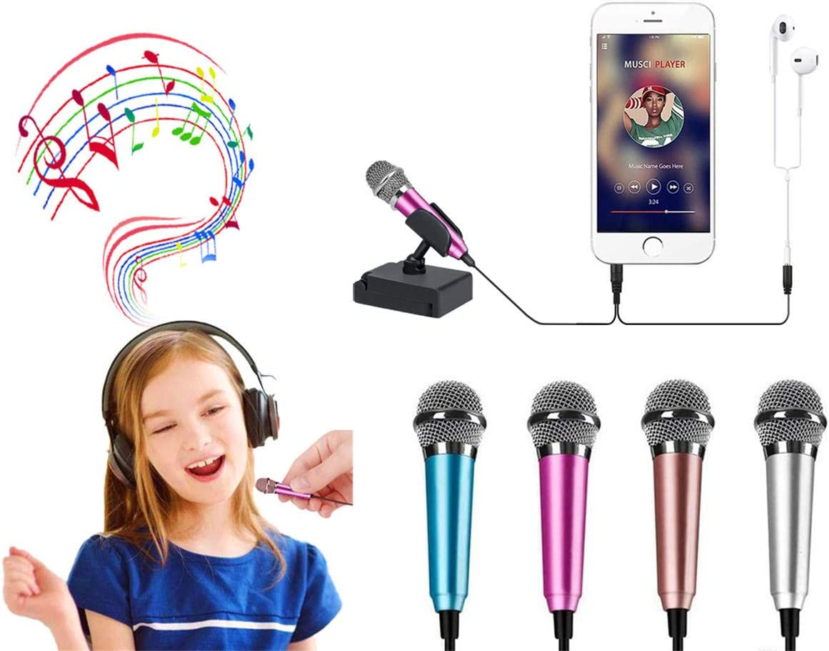 Mini Microphone Mini Portable Vocal/Musical Instrument Microphone Mobile Notebook Computer Notebook Apple iPhone Samsung Android (Rose Pink)
