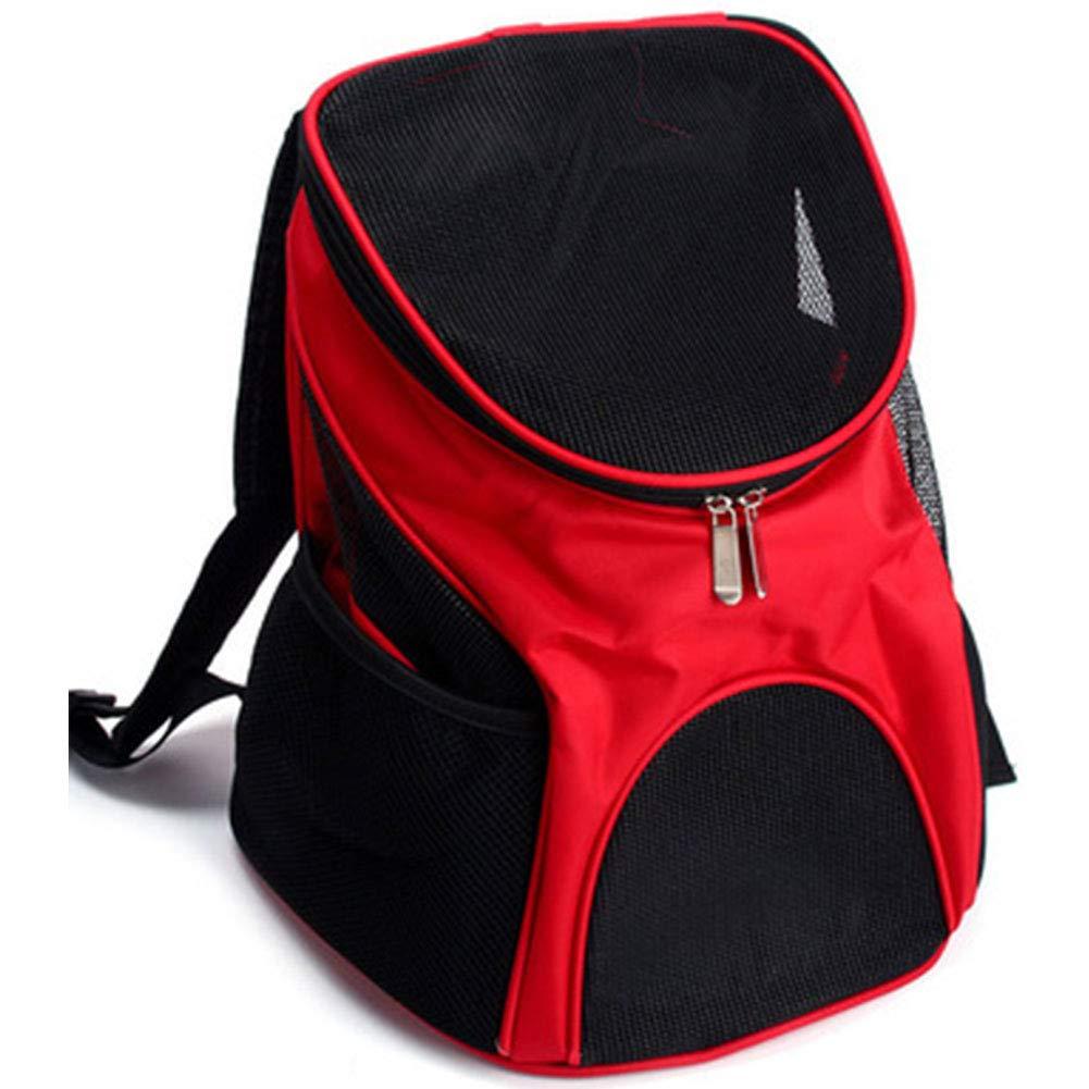 Red HAOJINFENG Dog Bag Out Carrying Bag Breathable Mesh Shoulder Bag Chest Bag Collapsible Pet Dog Travel Bag