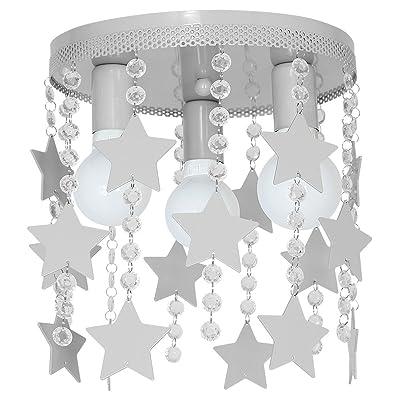 9753Lustre en acier de plafond pour chambre d'enfant, plafonnier elza3étoile, grise.